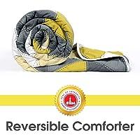 Divine Casa Microfibre Comforter/Blanket/Quilt/Duvet Lightweight, All Weather Single Comforter,Geometric- Yellow and Grey (110 GSM)