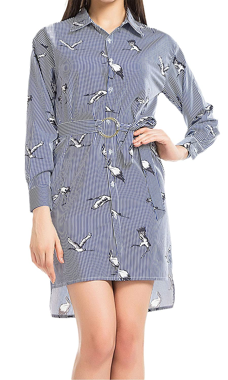 bluee Liliam Women Casual Adjustable Spaghetti Strap Dress Striped Sleeveless Backless Pleated Mini Sundress