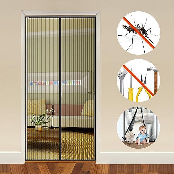 Oumeiou Rideau de porte aimant/é avec moustiquaire et moustiquaire en maille r/ésistante pour prot/éger lair frais et les insectes volants noir