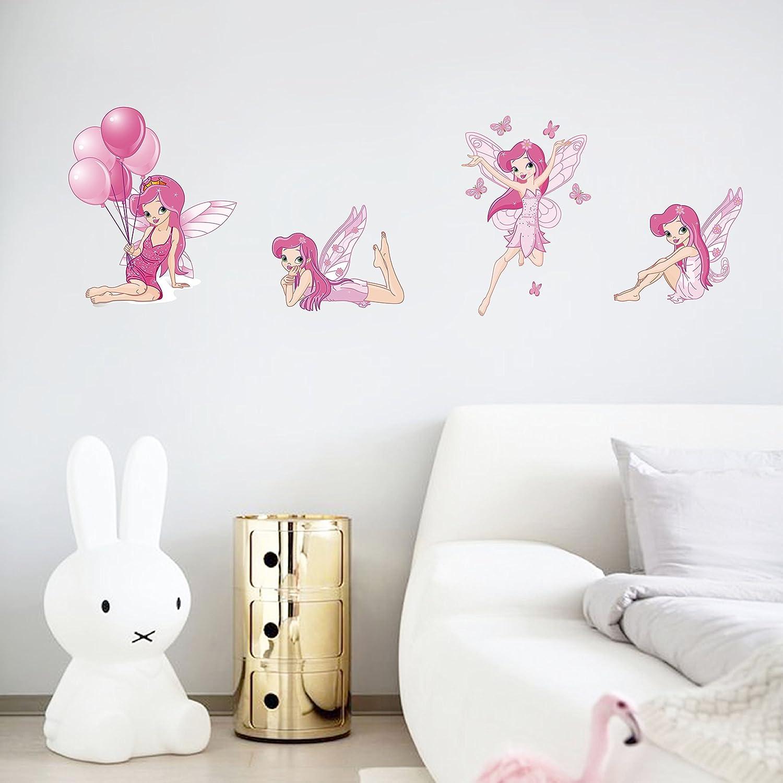 decalmile Rose Stickers Muraux F/ées Amovible Vinyle Autocollant Stickers pour Chambre B/éb/é Fille Chambre Enfant