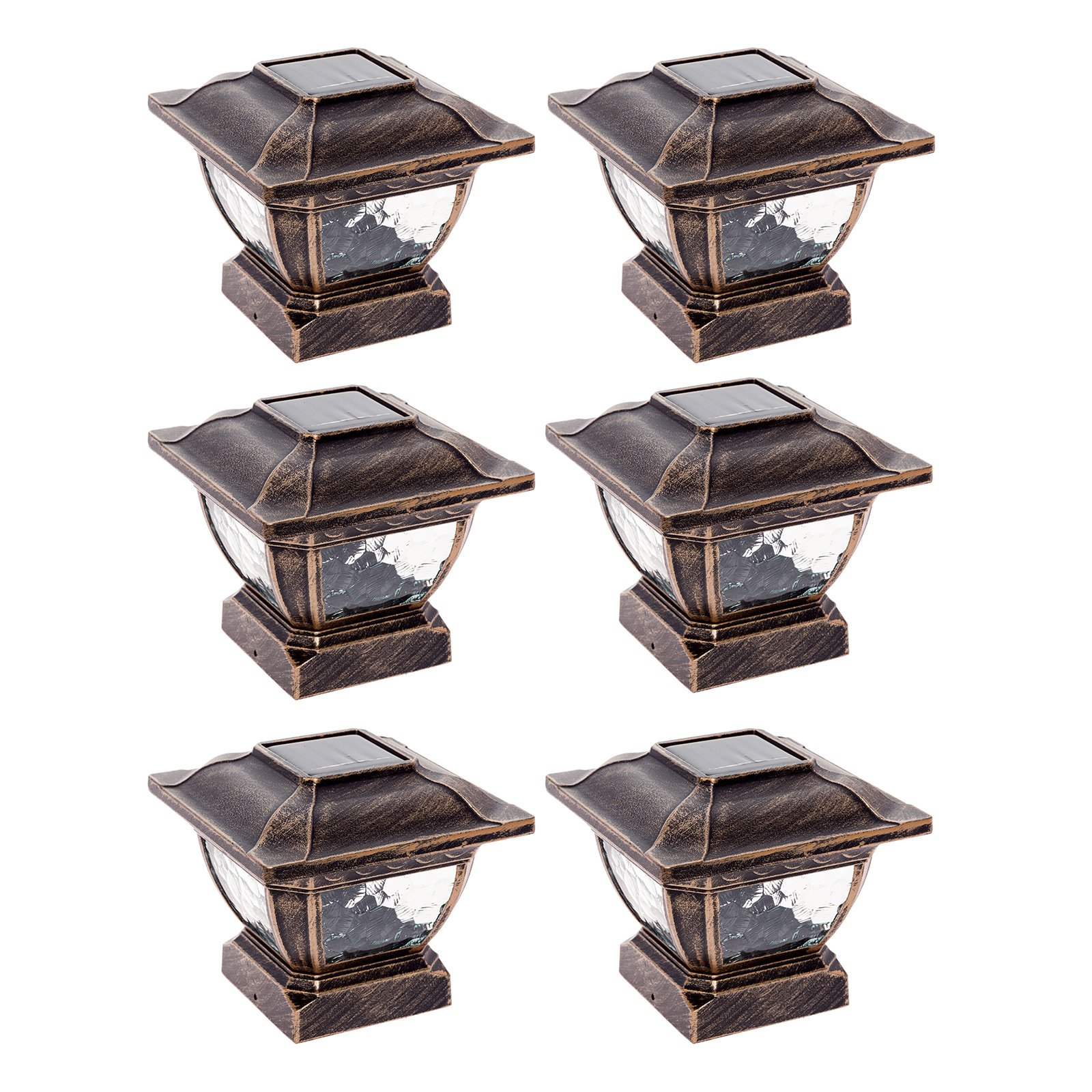 Paradise GL28998BZ Solar Cast Aluminum LED Post Cap Light for 4x4 Wood Posts (Bronze, 6 Pack) by Paradise (Image #1)