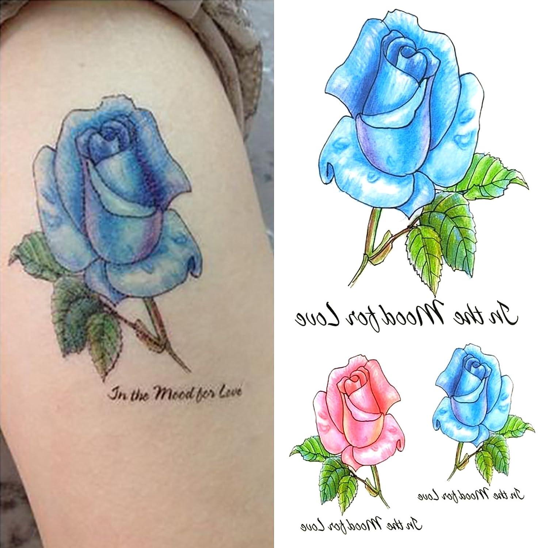 Oottati Tatuajes Temporales Mujer Inglés letras Rose Blue (2 hojas ...