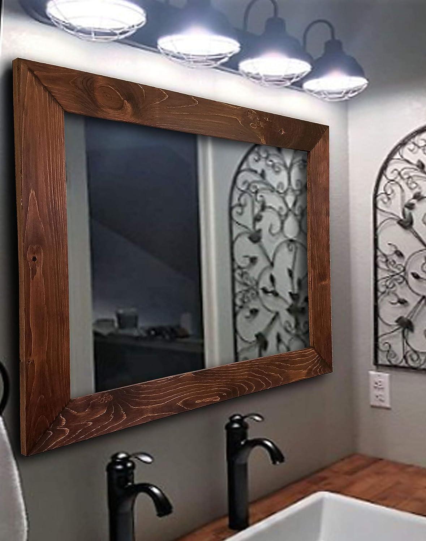 Amazon Com Shiplap Rustic Wood Framed Mirror 20 Stain Colors Rustic Reclaimed Styled Wood Farmhouse Bathroom Shabby Chic Bathroom Modern Rustic Bathroom Country Bathroom Bathroom Vanity Handmade