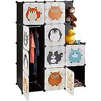 Relaxdays Estantería Infantil Modular con 10 Compartimentos, Negro, 145 x 110.5 x 46.5 cm