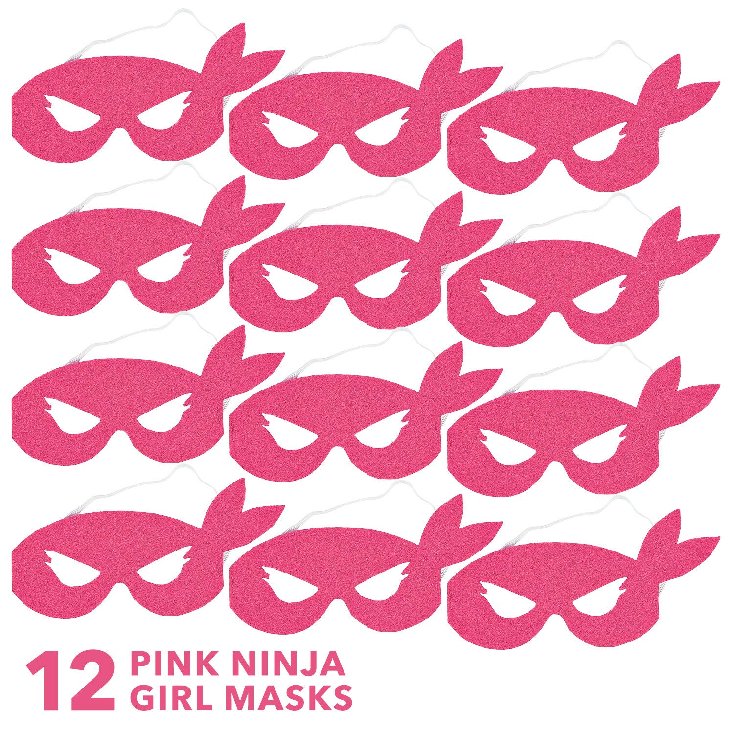 Amazon.com: Pink Ninja Masks for Kids - Set of 12 Costume ...