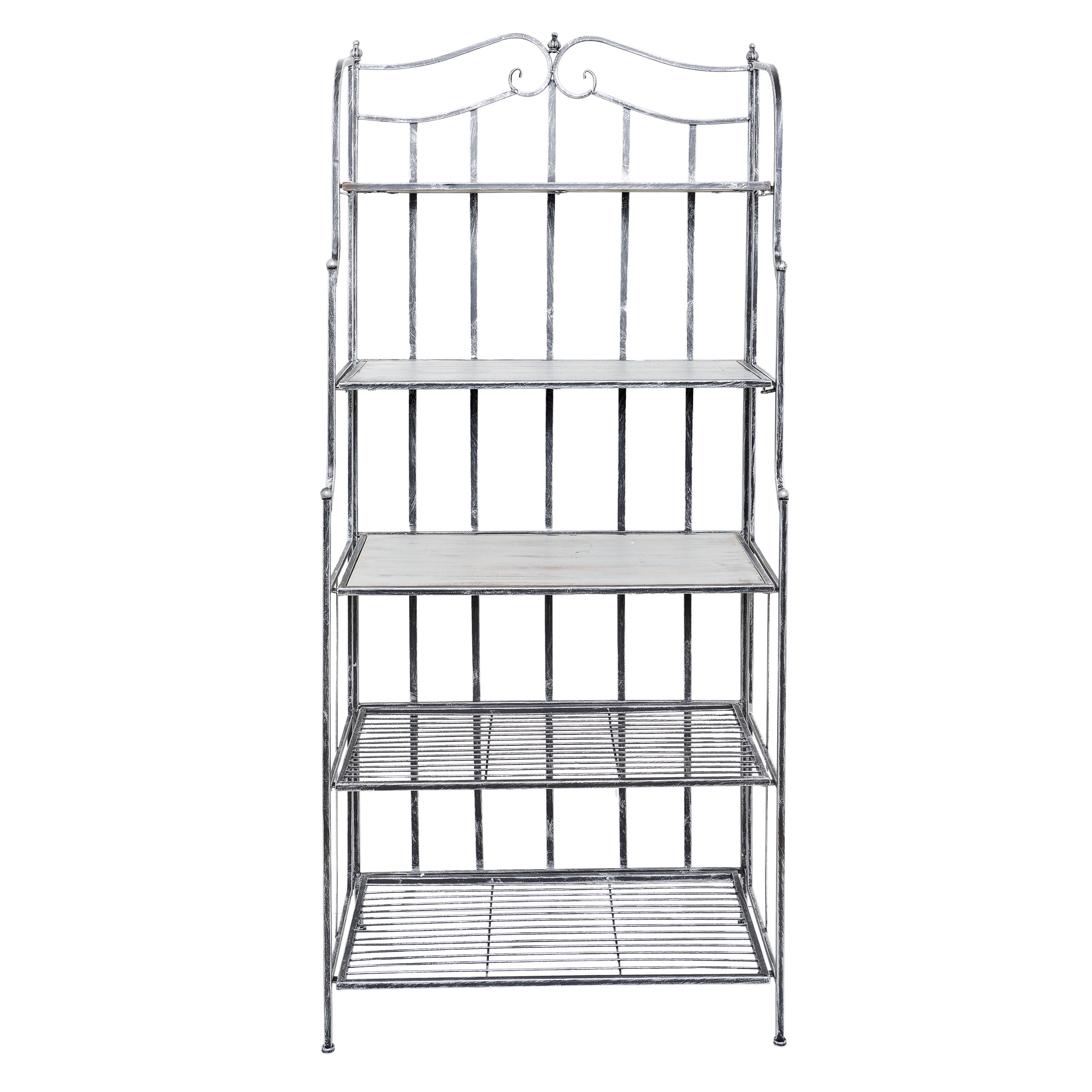 Old Dutch 611BP Montclair Bakers Rack, 30'' x 16'' x 67.25'', Antique Pewter and Gray