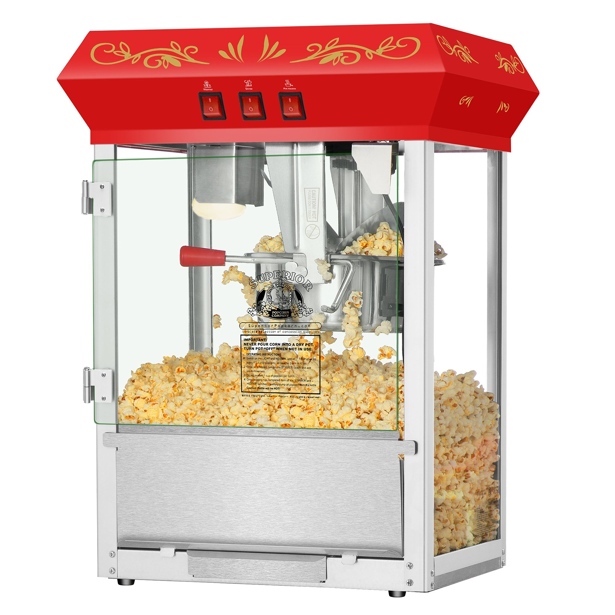 Superior Popcorn Company 4645 Spc Movienight Red Top 8Oz Movie Night Countertop Popper Machine, 8 Oz, Red