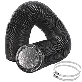 4 Inch Duct Hose By 12 Feet Eau Black Flexible 4 Layers Aluminum Dryer Vent Tube Transition Duct Air Hose With 2 Screw Clamps Great For Hvac Duct Clothes Dryer Duct Air Duct