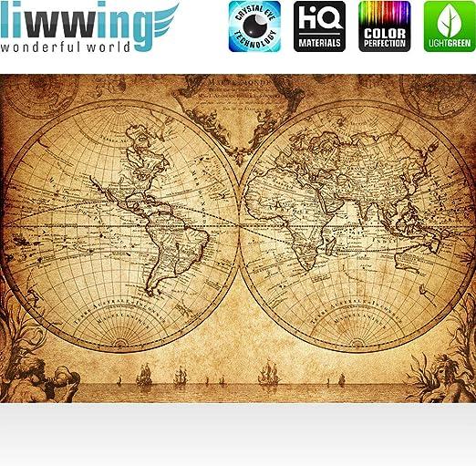 Papel Pintado Fotográfico 200 x 140 cm Premium Plus – Papel pintado fotográfico pared de pintado de – Vintage World Map – Mapa del Mundo Atlas Vintage Antigua tarjeta edad altas –