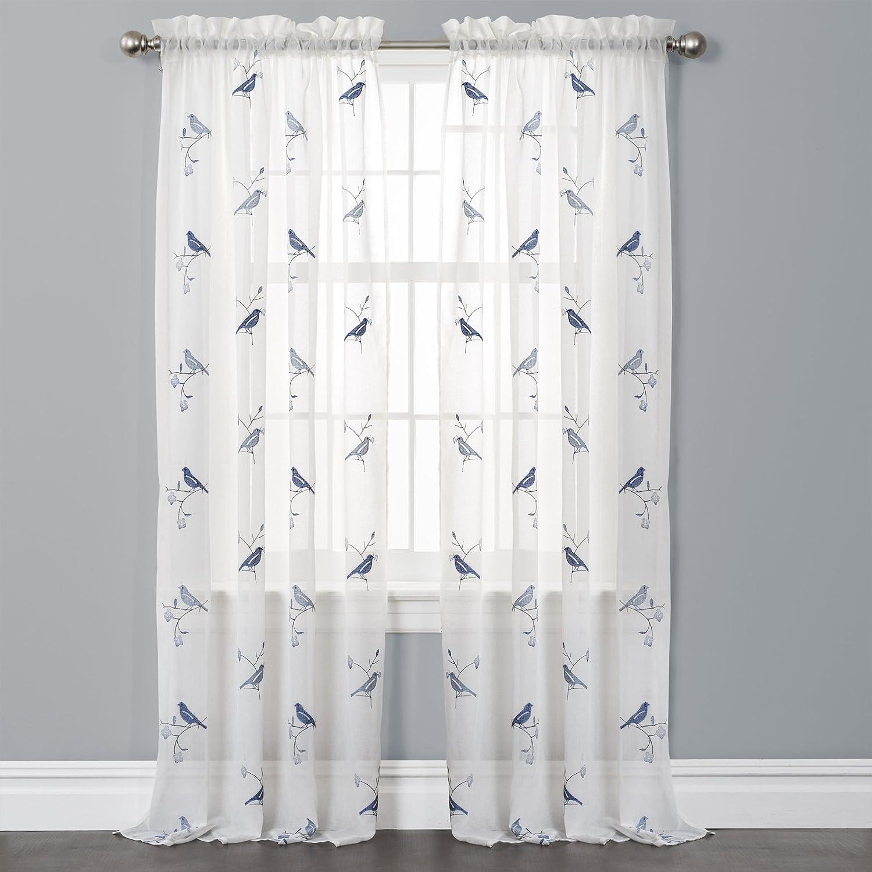 Amazon Lush Decor Elena Window Curtains Blue Set Of 2 Home Kitchen