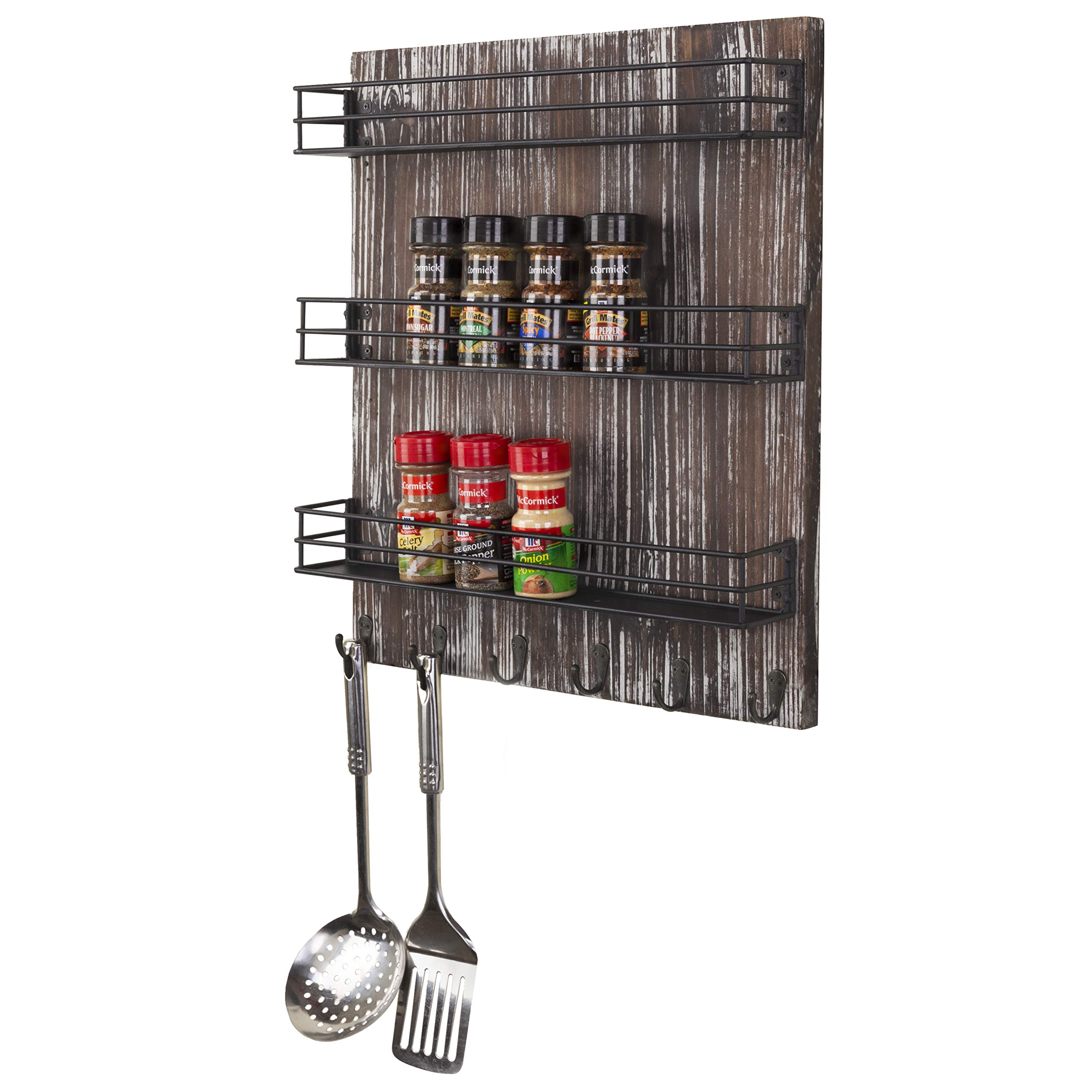 MyGift Wall-Mounted Torched Wood 3-Tier Spice Rack with 5 Hooks by MyGift