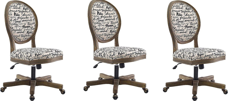 Linon Home Décor OC099PAR01U Brea Paris Office Chair, White (Pack of 3)