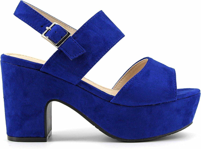 Modelisa - Sandalia Tacon Ancho Mujer (41, Azul): Amazon.es ...