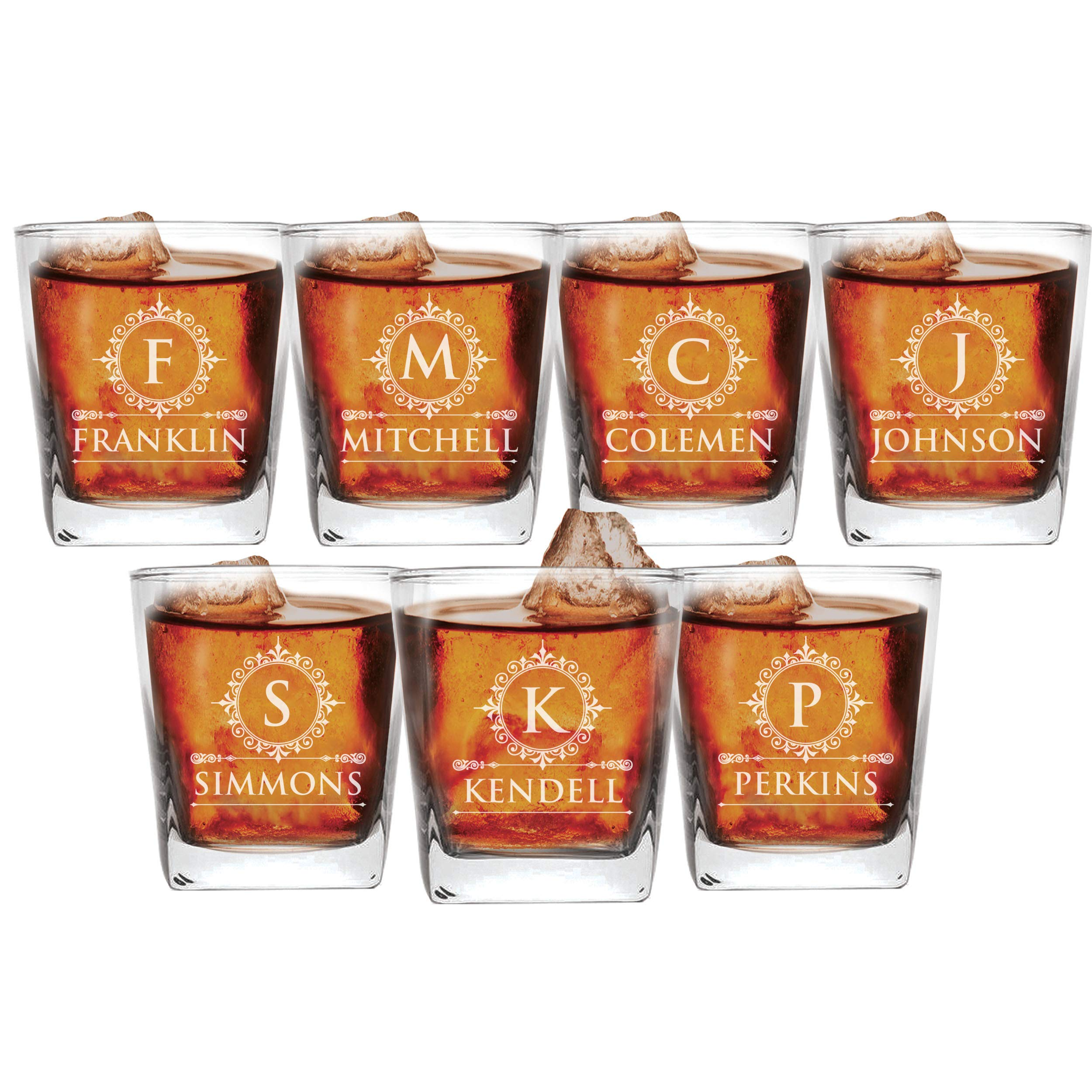 Set of 1, 2, 3, and More Custom Etched Whiskey Rocks Glasses for Wedding Party - Personalized Square Rocks Glass Gift for Groom, Groomsman - Contemporary Style (7)