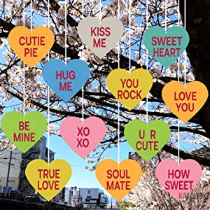 Outdoor Valentines Day Decorations Sign - Pack of 12 | Eco Friendly Felt Heart Decorations for Outside | Valentines Yard Decorations | Valentines Day Outdoor Lawn Décor | Valentine Tree Decorations