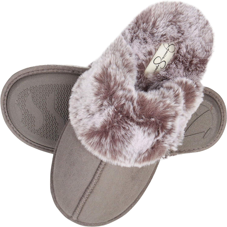 Jessica Simpson Women's Comfy Faux Fur House Slipper Scuff Memory Foam Slip on Anti-skid Sole