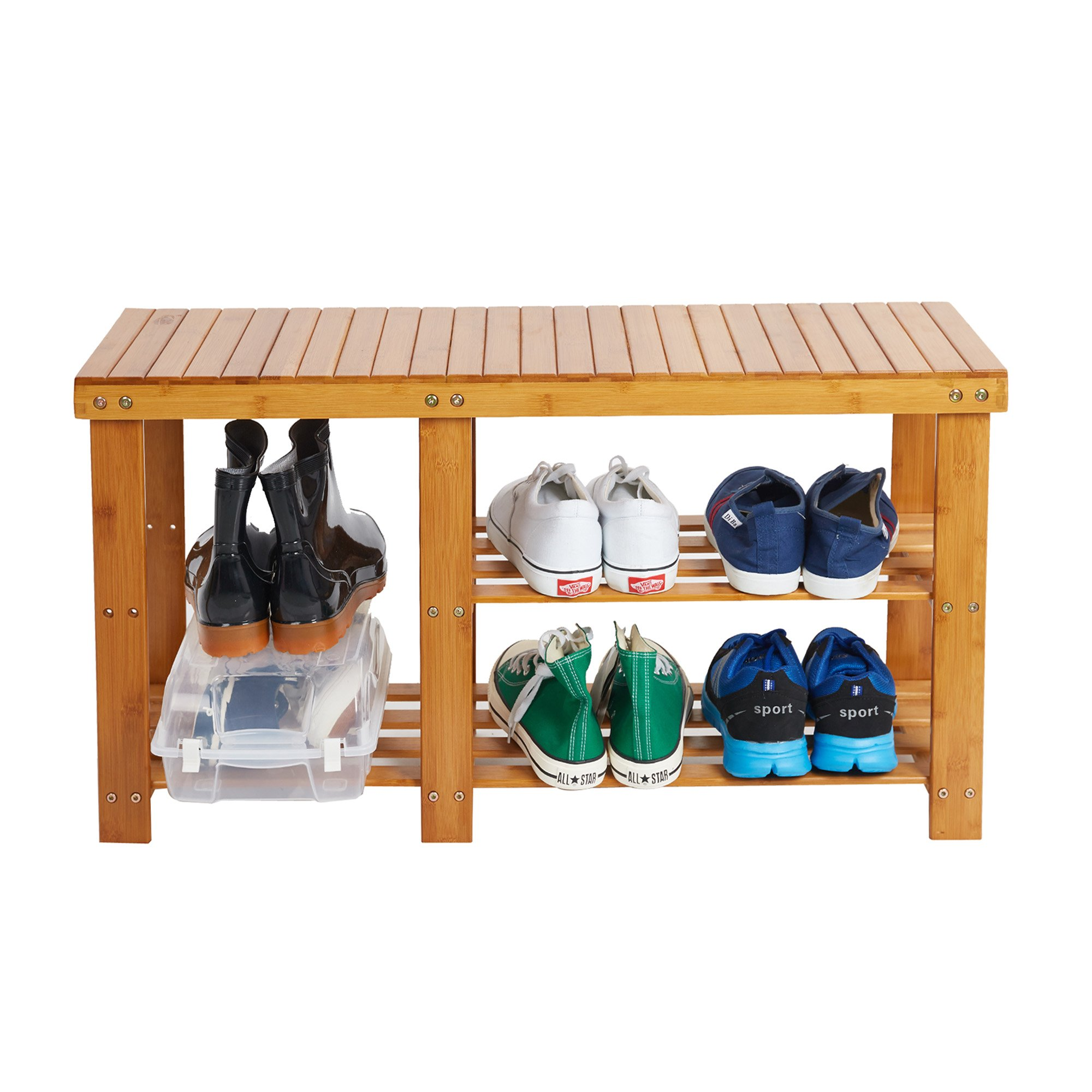 Lucky Tree 2-Tire Freestanding Shelves Boot Shoe Storage Bamboo Bench for Entryway Front Door Shoes Organizer Rack Seat by Lucky tree (Image #2)