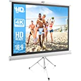 Portable Projector Screen Tripod Stand - Mobile Projection Screen , Lightweight Carry & Durable Easy Pull Assemble System for