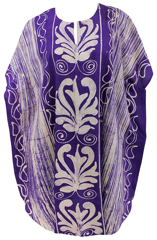 La Leela 100% Baumwolle Frauen Strand Badeanzug Kaftan Nachtzeug Sommerkleid lila
