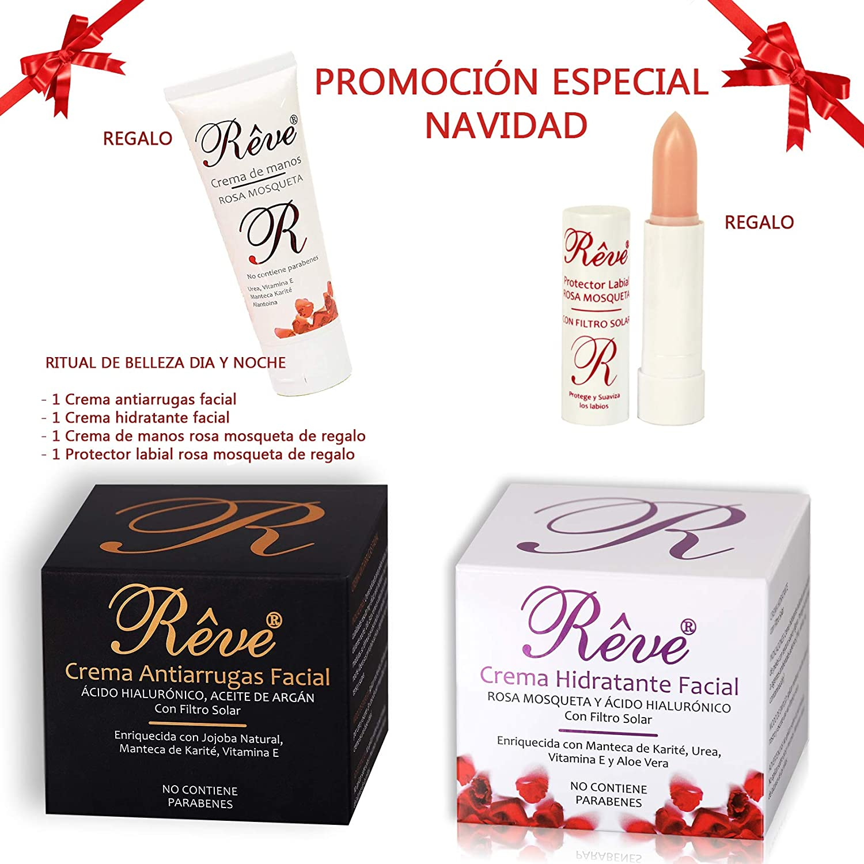 REVE Pack de Crema Antiarrugas Facial Argán con Ácido Hialurónico ...