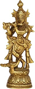 GURU JEE Brass Statue Lord Krishna Standing with Cow Peacock Religious Gifts for Pooja