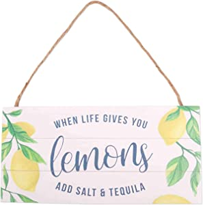 GSM Brands When Life Gives You Lemons Wood Plank Hanging Sign (13.75x6.9)