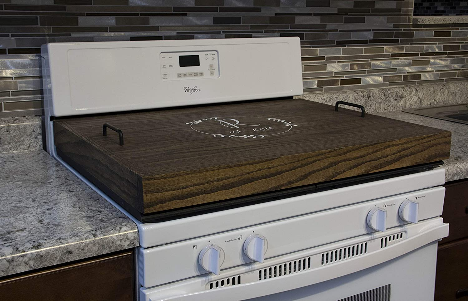 Red Oak Stove Top Cover, Thick Noodle Board, Personalized Stove Cover