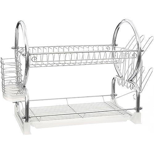 Premier Housewares White 2-Tier Dish Drainer