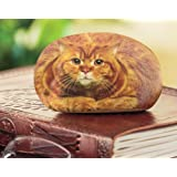 Desk Accessory - Office Desk Paperweight, Small Tabby Cat Rock Paper Weight