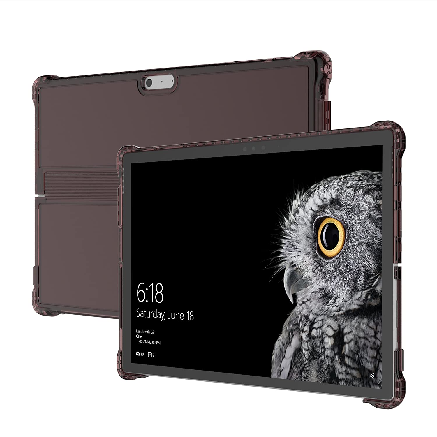Incipio Octane Pure - Back cover for tablet - thermoplastic polyurethane, Flex2O polymer - transparent, burgundy - for Microsoft Surface Pro (Mid 2017)   B072MHJPW5