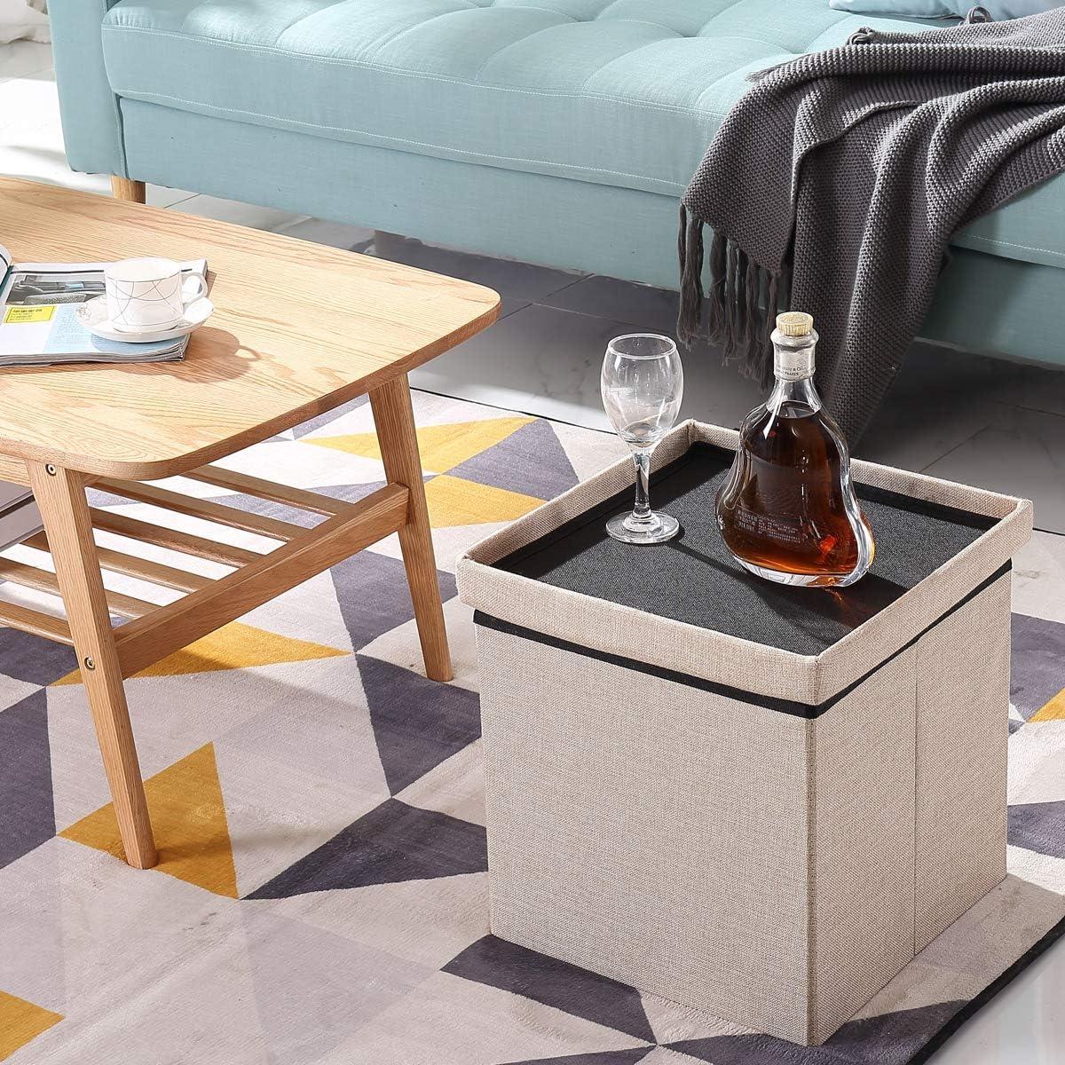 BRIAN /& DANY Pouf Puff Poggiapiedi Sgabello Contenitore Cassapanca Pieghevole Crema- Tessuto Come Lino, 38 x 38 x 38 cm