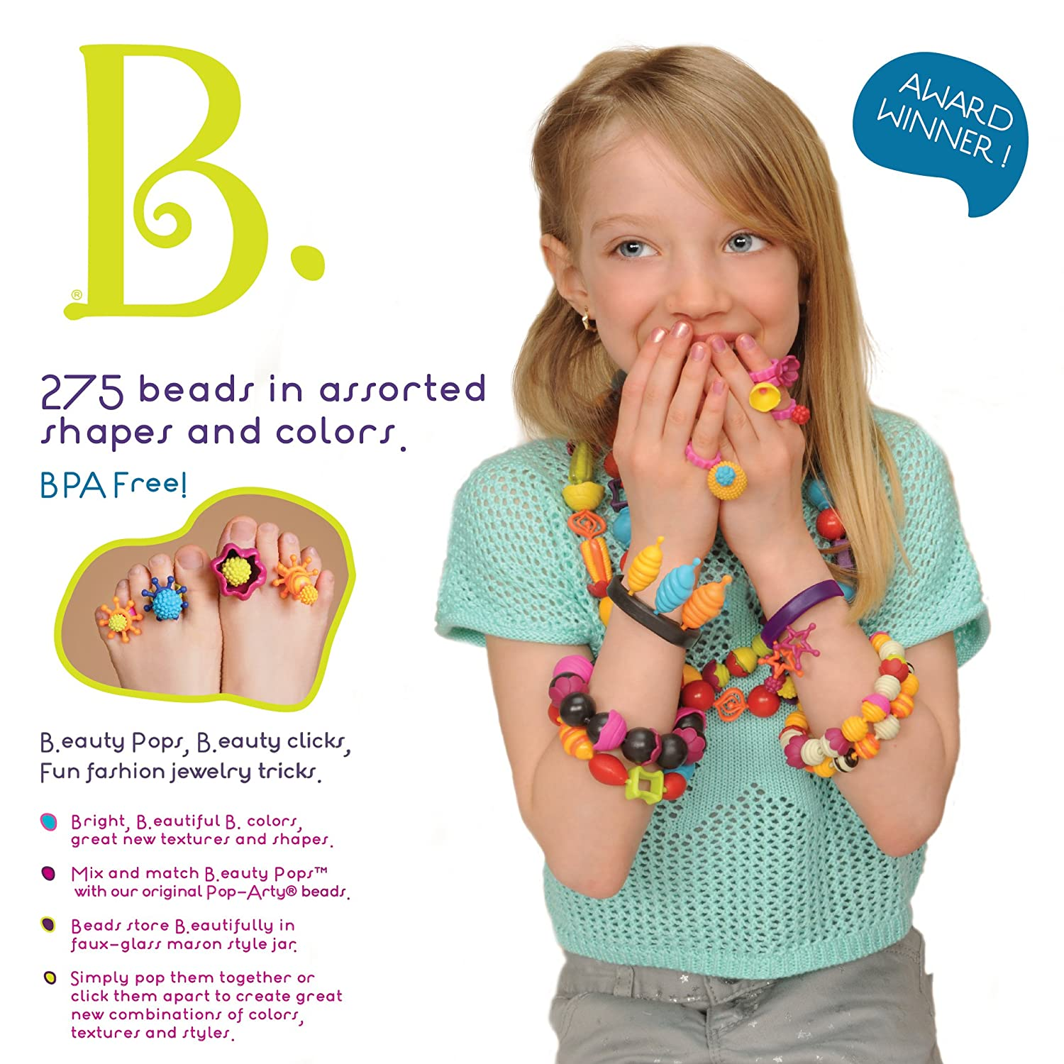 B Toys - 275-Pcs DIY Jewelry Kit For Kids Branford LTD BX1232Z Pop Snap Bead Jewelry