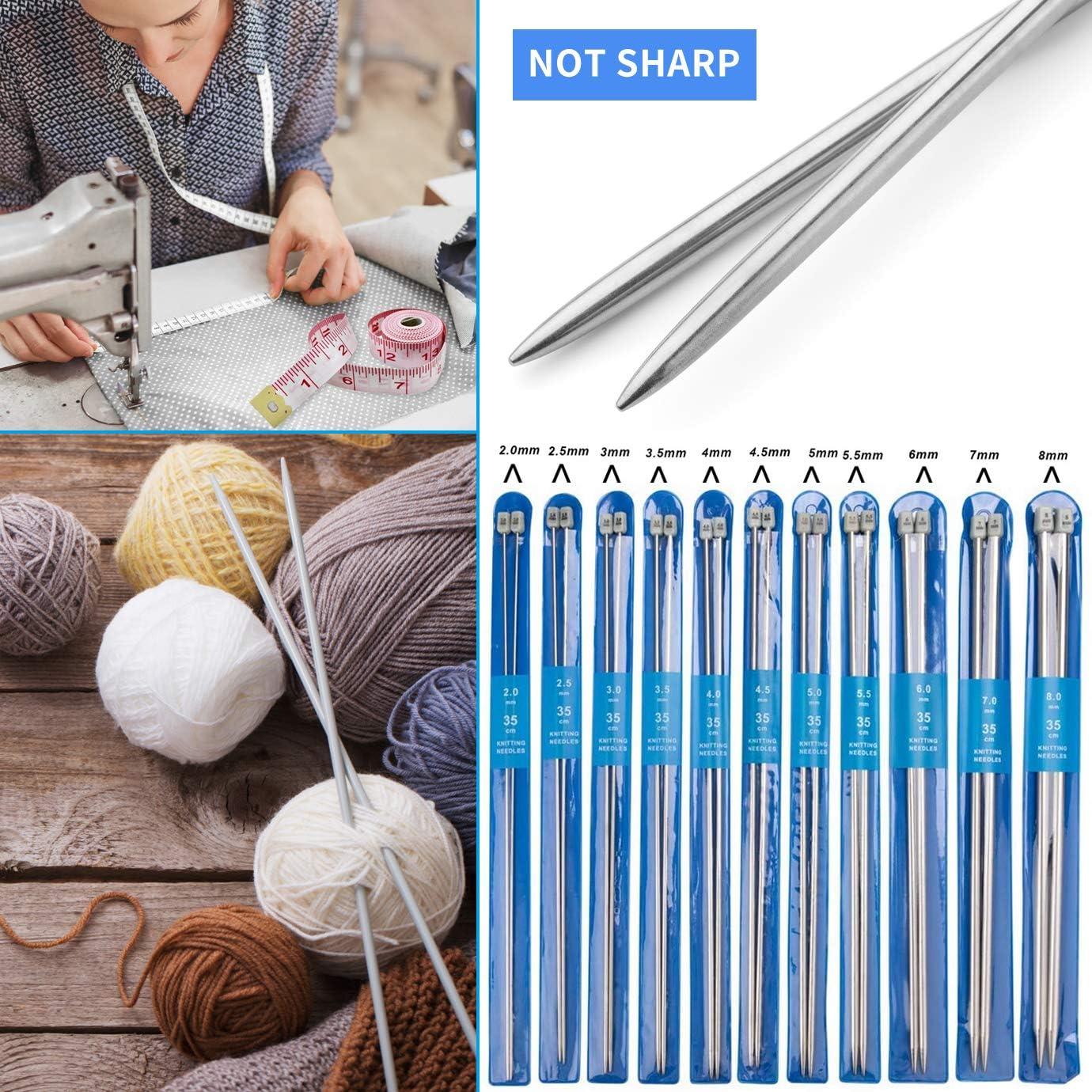 WXJ13 Lot de 48 aiguilles /à tricoter en acier inoxydable 2-8 mm avec m/ètre ruban et /étui