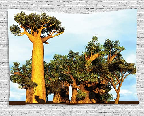Ambesonne Exotic Tapestry, African Baobab Trees Oriental Flora Photography Indigenous Plants, Wall Hanging for Bedroom Living Room Dorm, 80 W X 60 L Inches, Ginger Pale Blue and Green