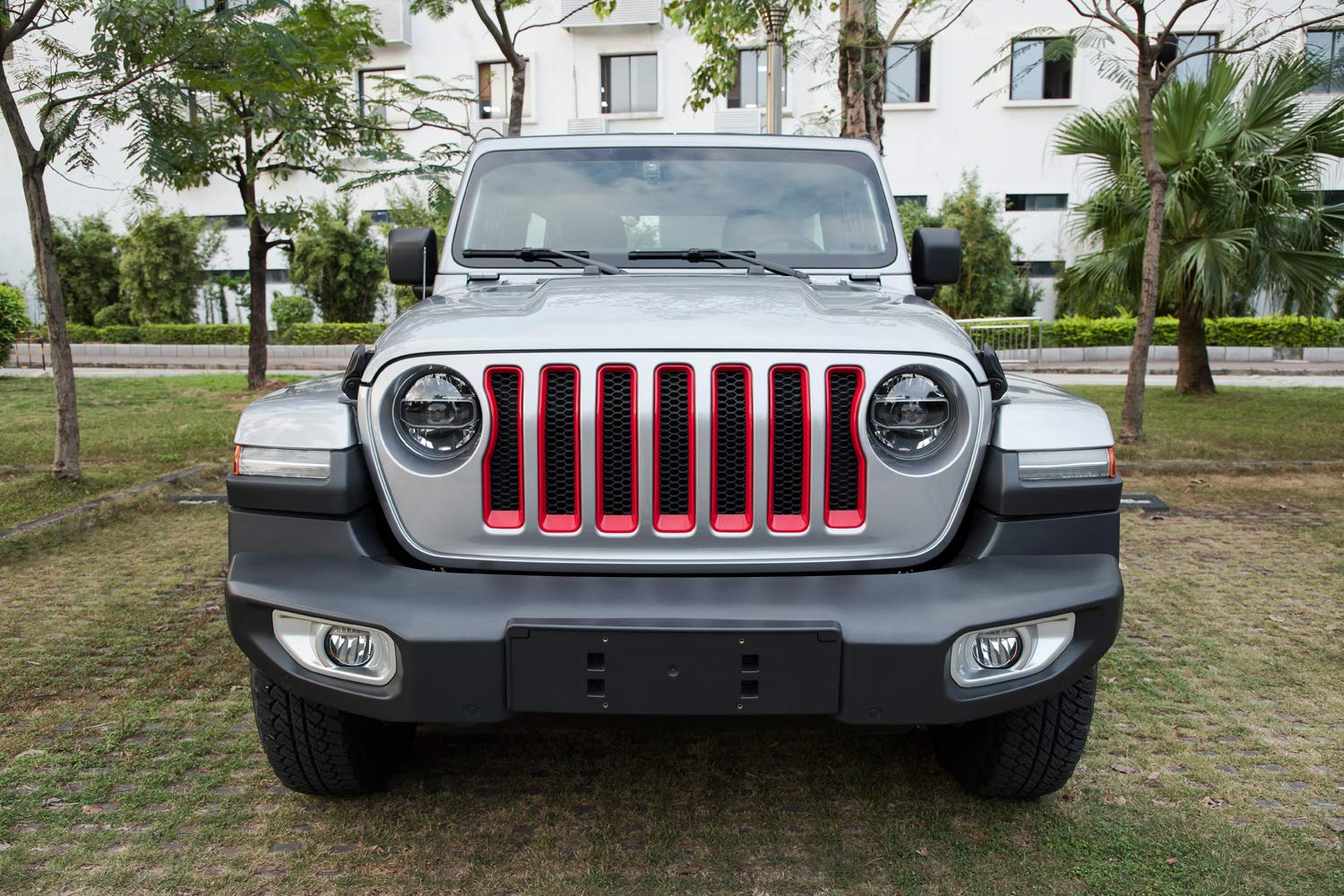 Headlight Turn Light Cover Trim /& Door Hinge Cover 17 Pcs Red Protection Accessories for 2018 2019 Jeep Wrangler JL JLU Sport//Sports Sunluway Front Grille Trim Inserts Grill Cover