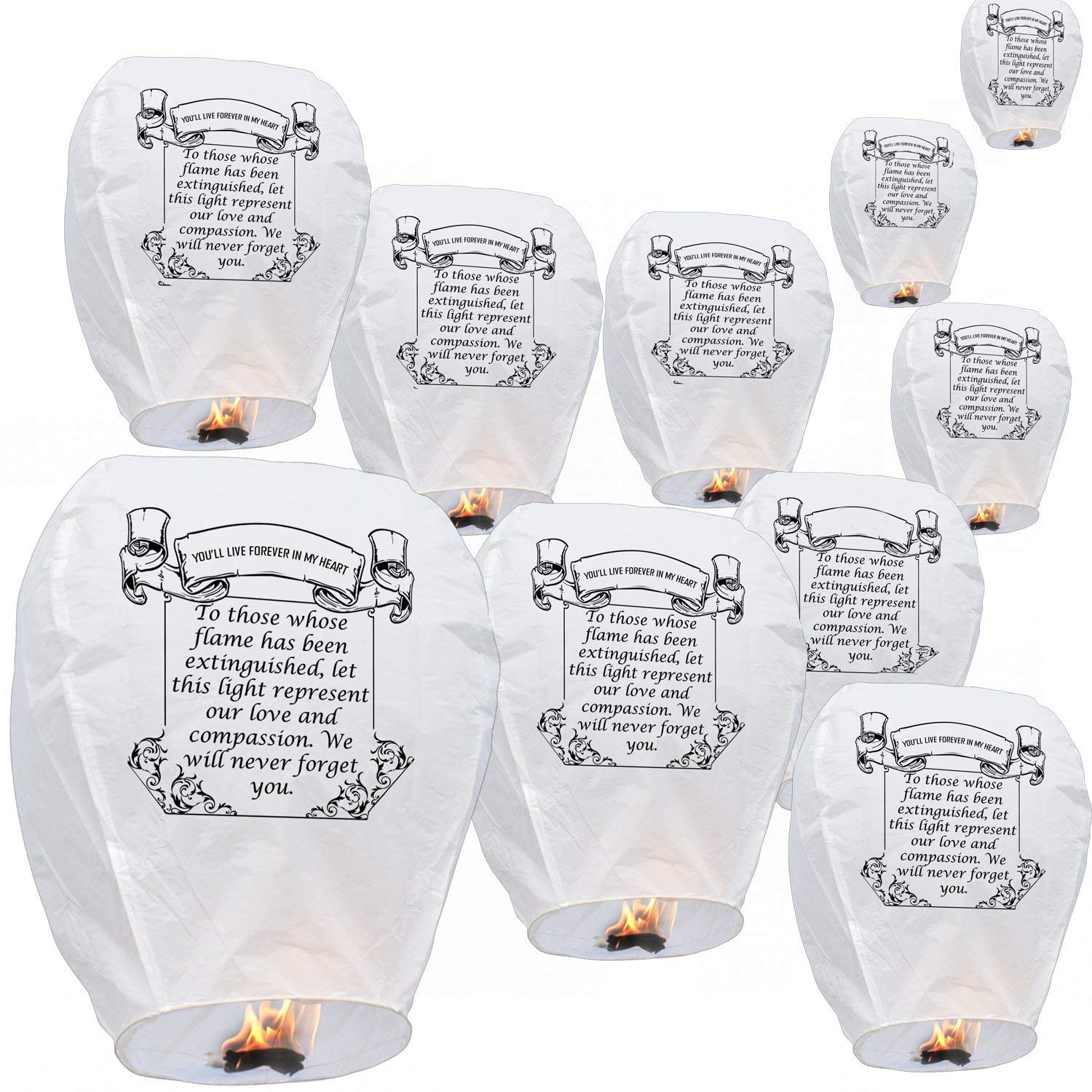Honereny Wishing Lanterns in Memory White,Biodegradable Environmentally Friendly Beautiful for Special Occasions, Weddings, Chinese Festival, Memorials Etc. (Pack of 10) by Honereny