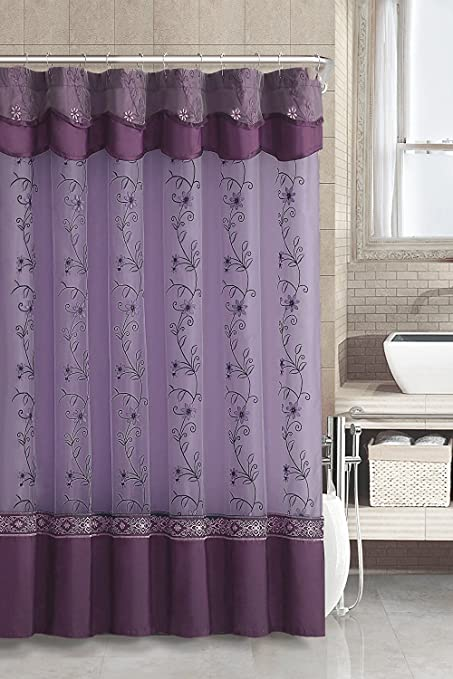 Two Layered Embroidered Fabric Shower Curtain With Attached Valance Purple Amazoncouk Kitchen Home