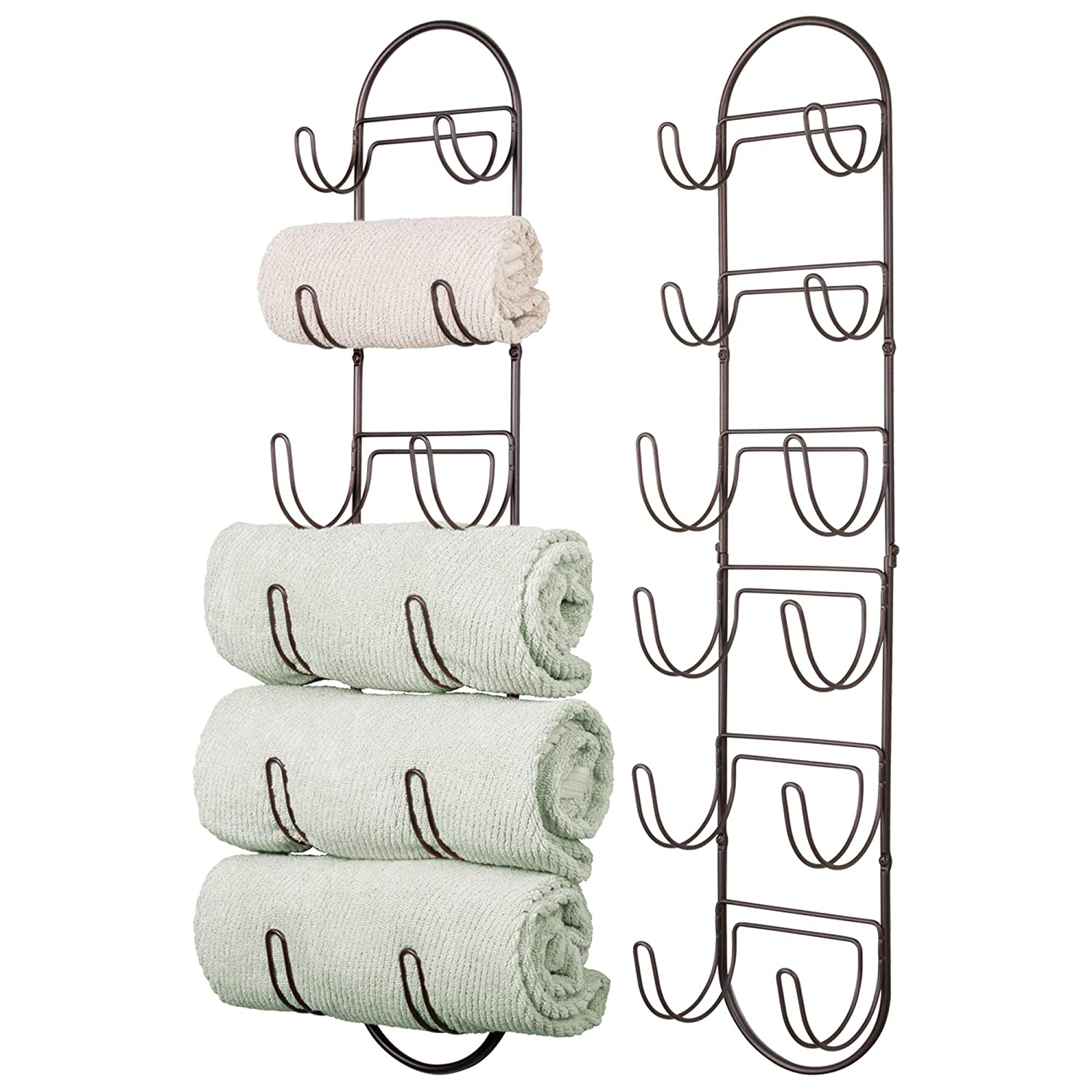 mDesign Wall Mount Towel Storage Rack with Six Compartments for Bathroom � Pack of 2, Bronze MetroDecor