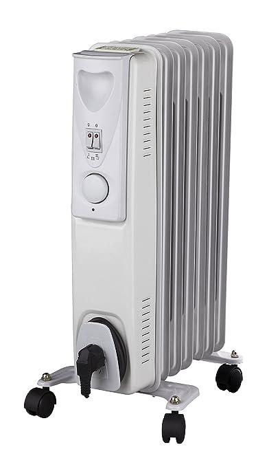 Radiador Daewoo de aceite en color blanco. Calefactor eléctrico de 1.500 vatios, con 3
