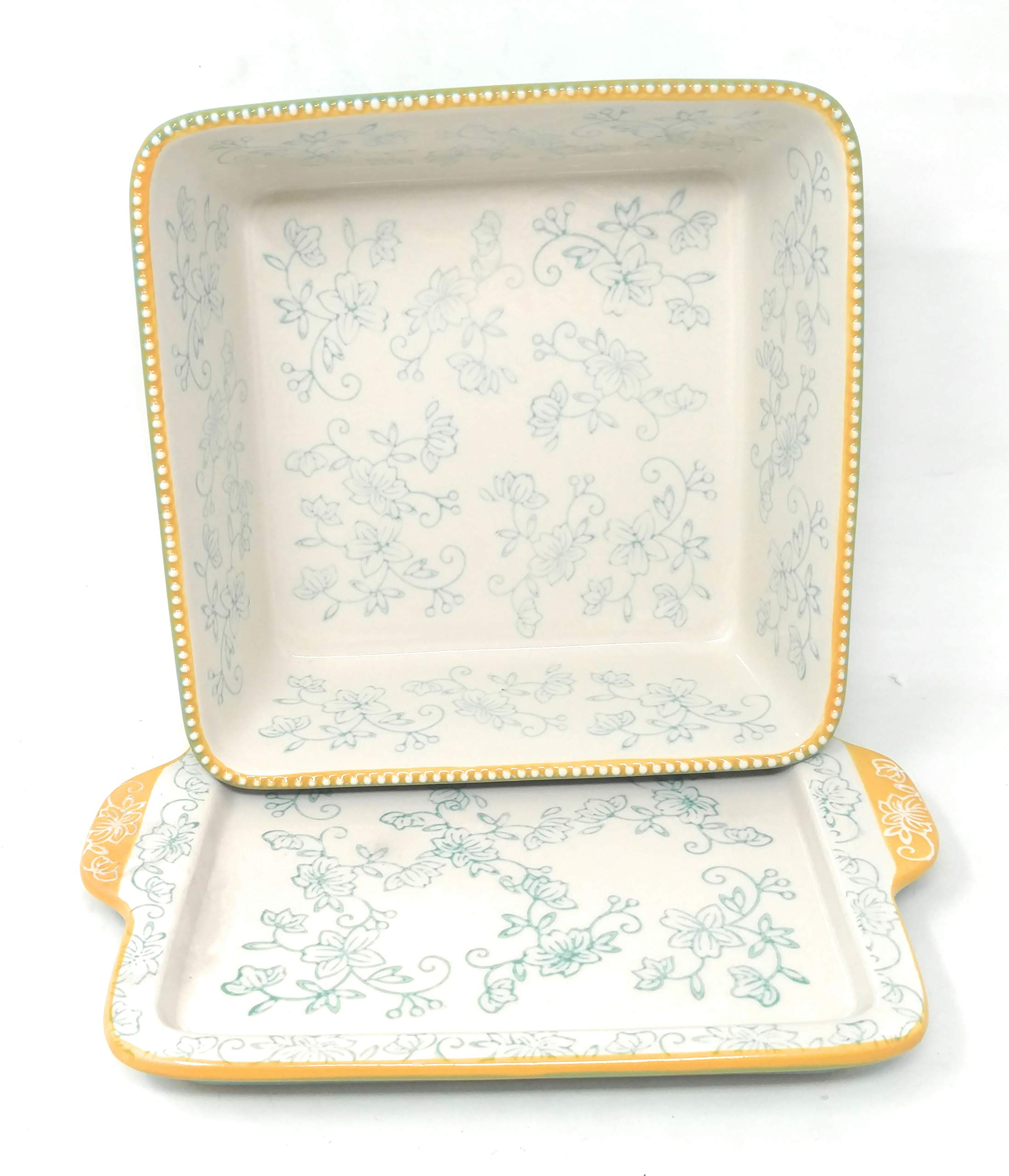 Temp-tations 8x8 Brownie Baker w/Lid-It (Tray) 1.5 Qt Square Casserole Dish (Floral Lace Teal) by Temptations (Image #2)