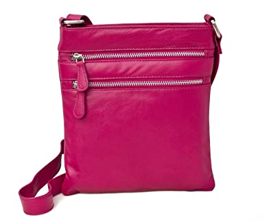 Prime Hide Ladies Berry Leather Zip Top Crossbody Bag Across Body Bag