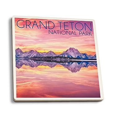 Lantern Press Grand Teton National Park, Wyoming - Sunset and Jackson Lake (Set of 4 Ceramic Coasters - Cork-Backed, Absorbent)