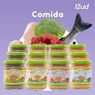 Yammy, Pack Potitos Comida (Verduras, Pollo, Ternera y Lubina) - 12 de 195 gr. (Total 2340 gr.): Amazon.es: Alimentación y bebidas