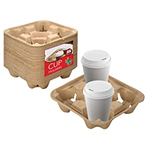 4 Cup Disposable Coffee Tray (25 Count) - Biodegradable and Compostable Cup Holder - Durable Drink Carrier for Hot or Cold Drinks - To Go Coffee Cup Holder for Food Delivery Service, Uber Eats