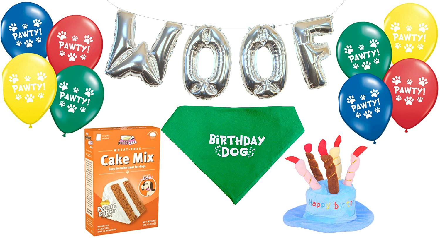 Amazon Dog Birthday Party Decorations Kit By Blast In A Box Blue Hat Puppy Cake Mix Cotton Bandana WOOF And Pawty Balloons