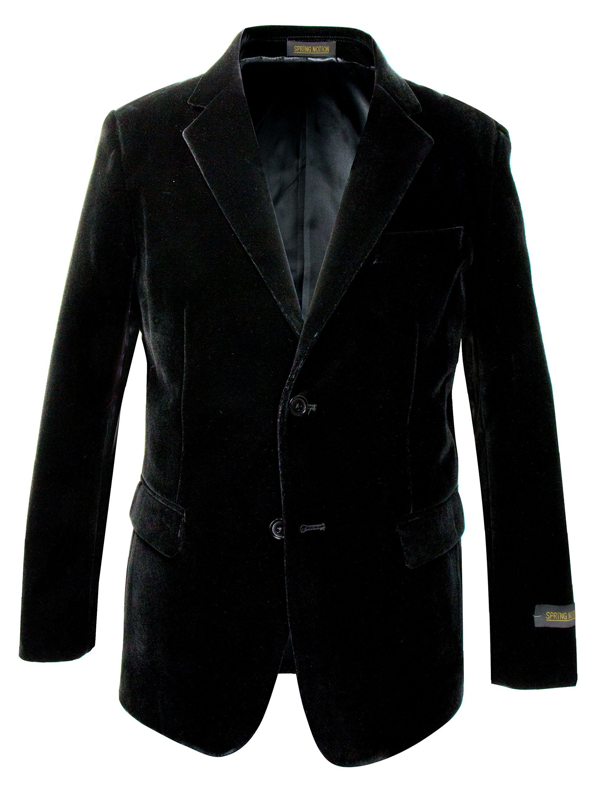 Spring Notion Big Boys' Velvet Blazer 14 Black
