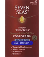 Seven Seas Omega-3 Fish Oil Plus Cod Liver Oil High Strength Gelatine Free 60 Capsules