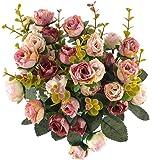 21Köpfe Künstliche Seide Rose Getrocknete Blumen Flower Arrangement Fake Blumenstrauß Hochzeit Home floral Decor–2Stück (Pink & Coffee)
