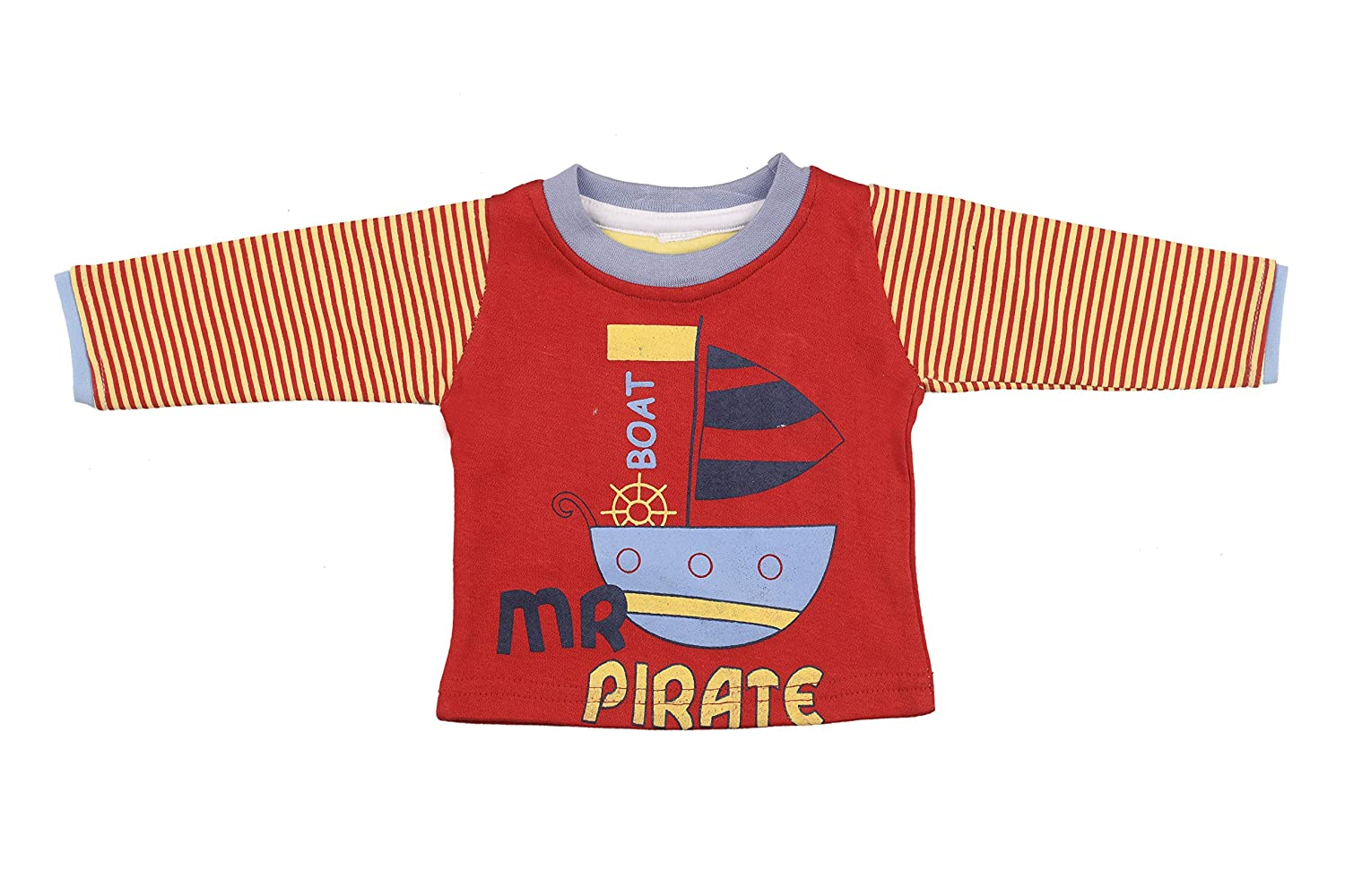 Greenlink Red and Yellow Cotton Full Sleeve Tshirt for Baby
