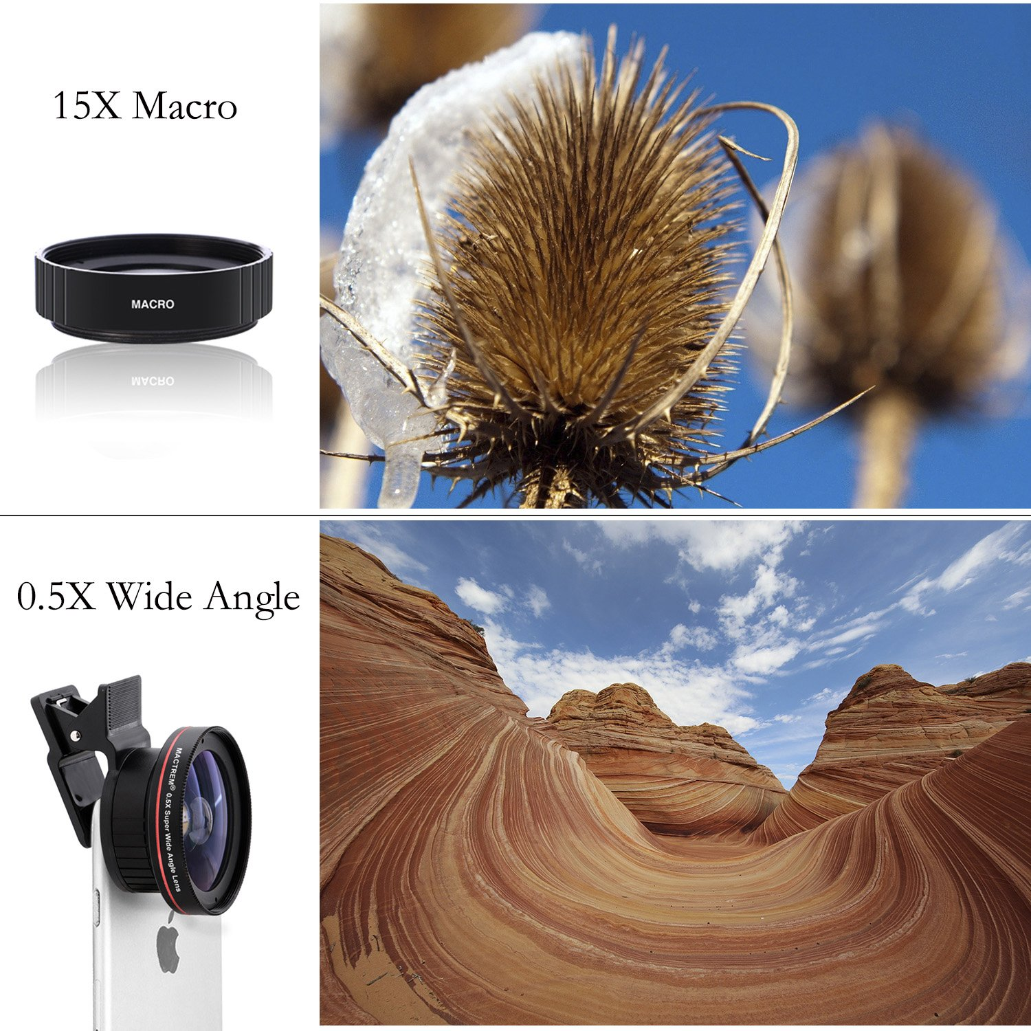 [Upgraded Version] Clip on Universal Smart Phone HD Camera Lens Kit 2 in 1 (Mactrem 0.5x Wide Angle Lens, 15x Macro Lens) Works with Most Smartphones, for iPhone 7/7 Plus / 6 / 6s / 6s Plus / 5 / 5s / 4 / SE / Samsung S7 S6 S5 Smartphones